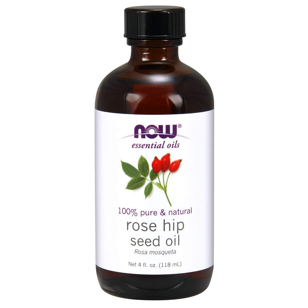 Now Essential Oils, Rose Hip Seed Oil, 100% Pure, Nourishing and Renewing, for Facial Care, Vegan, 4-Ounce by NOW Foods