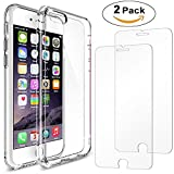 iPhone 6S Case + 2Pack iPhone 6S Glass screen protector , AEDILYS Crystal Clear PC Back TPU Bumper [Drop Protection/Shock Absorption Technology] Raised Bezels Protective Cover For iPhone 6/6S 4.7""