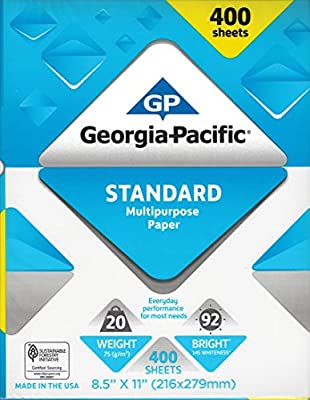 GP Copy and Print Paper, 8.5 x 11 Inches Letter Size, 92 Bright White, 20 Lb, 2 Reams (400 Sheets)