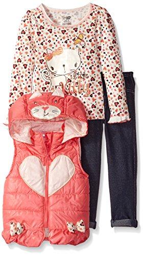 Nannette Little Girls' Toddler 3Pc Nylon Vest Set with Screen-Print Pullover and (Nylon Print Vest)