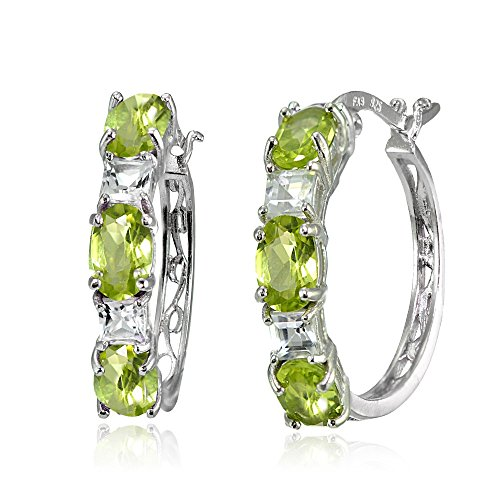 Sterling Silver 6x4mm Oval Peridot & Princess-cut White Topaz Filigree Hoop Earrings