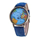 MINILUJIA Unique Design with Rotating Plane World Map Watch Blue Strap