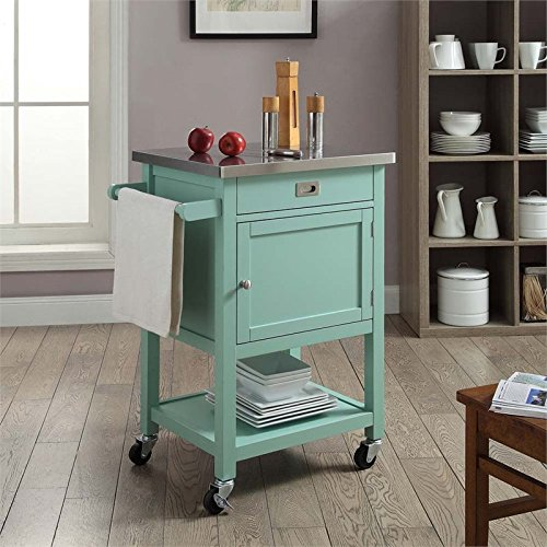 Sydney Kitchen Island Cart — Light Green with Stainless Steel Top - Small Kitchen Islands