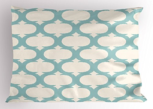 Ambesonne Aqua Pillow Sham, Mesh Pattern with Curvy Lattice Design Old Fashioned Pastel, Decorative Standard King Size Printed Pillowcase, 36