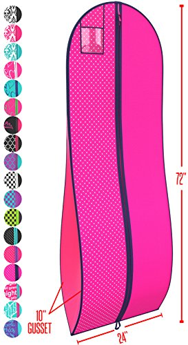 "Gusseted Gown Garment Bag for Women's Prom and Bridal Wedding Dresses - Travel Folding Loop, ID Window-72"" x 24"" with 10"" Tapered Gusset - Fuchsia and Navy Polka Dot - by Your (Bridal Dress Bag)"