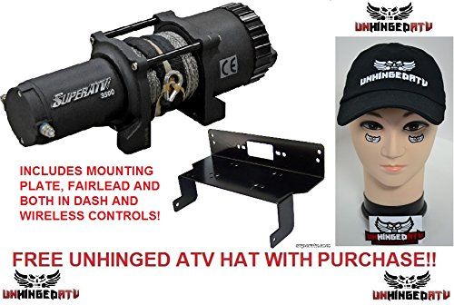 Bundle 2 Items: SuperATV 3500 lb. Winch WITH MOUNTING PLATE for Polaris Ranger Midsize 400/500/570/800/Crew and FREE Unhinged ATV Hat!