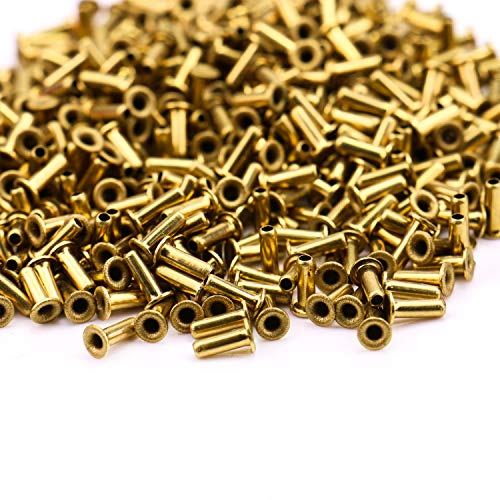 Monrocco 500 Pcs M2x6mm Gold Metal Hollow Eyelets Rivets Brass Plated Long Eyelets Nut for Jewelry Leather ()