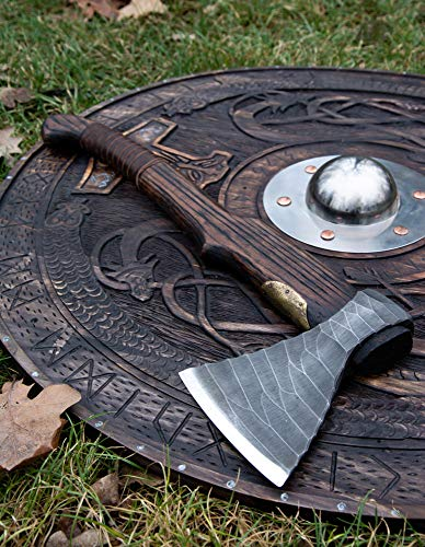 Hand forged Viking axe High carbon steel handmade hatchet axe with leather case Engraved custom axe Hunting camping battle tool Father gift