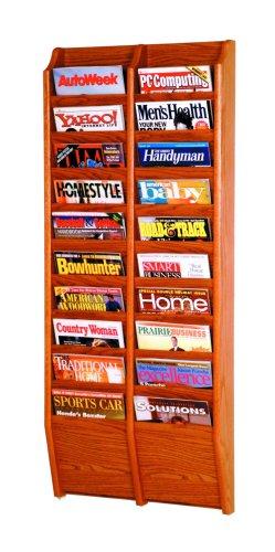 (Wooden Mallet 20-Pocket Cascade Magazine Rack, Medium Oak)