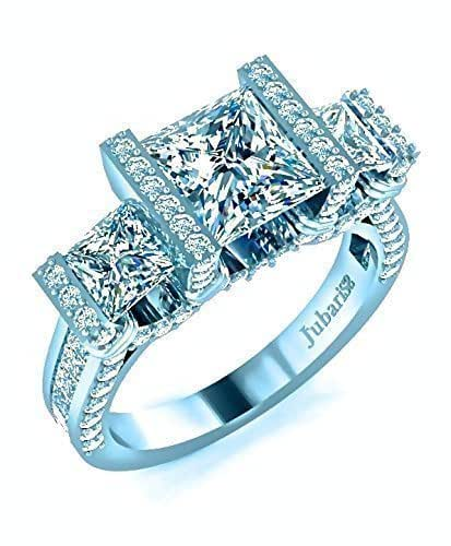 Amazon Com 3 Stone Princess Cut Engagement Ring 2 52 Ctw Diamond