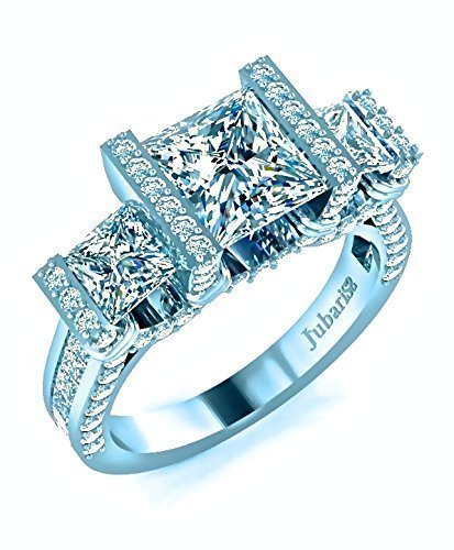 (3 Stone Princess Cut Engagement Ring 2.52 Ctw. Diamond Tension Set Channel Shank Custom Jubariss 18K White Gold)