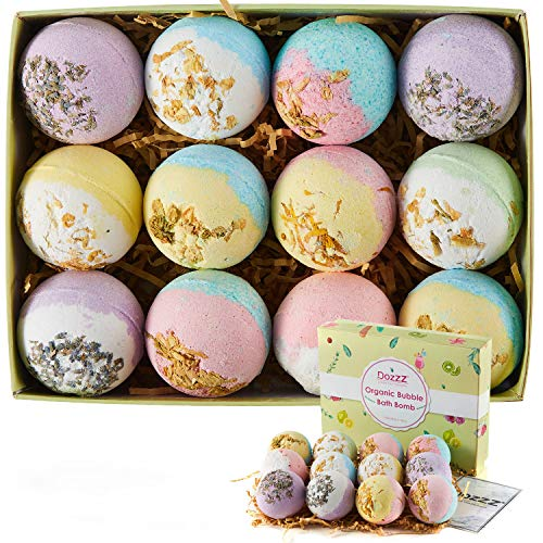 Organic Bubble Bath Bombs with Essential Oils & Dry Flowers Fizzy Spa Lush Relaxation Gift for Girlfriend Women Mothers Day 12 Set