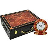 MRC 500pcs Monte Carlo Poker Club Poker Chips Set with High Gloss Wood Case Custom Build