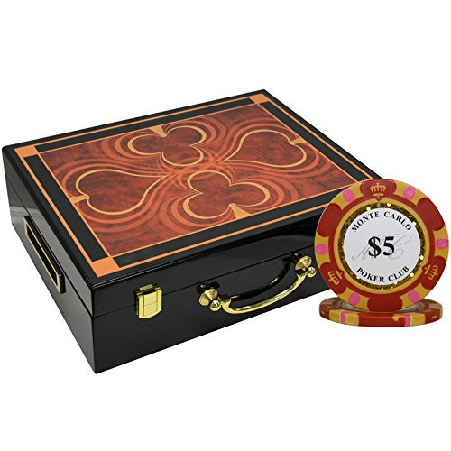 MRC 500pcs Monte Carlo Poker Club Poker Chips Set with High Gloss Wood Case Custom Build by Mrc Poker