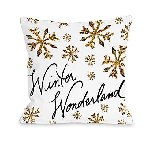 One Bella Casa Winter Wonderland Gold Snowflakes Throw Pillow Cover by Timree Gold, 18