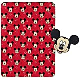 """Jay Franco Mickey Mouse Plush Pillow and 40"""" Inch x 50"""" Inch Throw Blanket - Kids Super Soft 2 Piece Nogginz Set"""