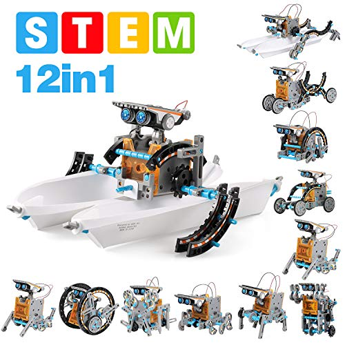 STEM Projects Solar Robot Creation Kit – 12-in-1 Construction Set, 190 Pieces – Trains Science, Technology, Robotics…