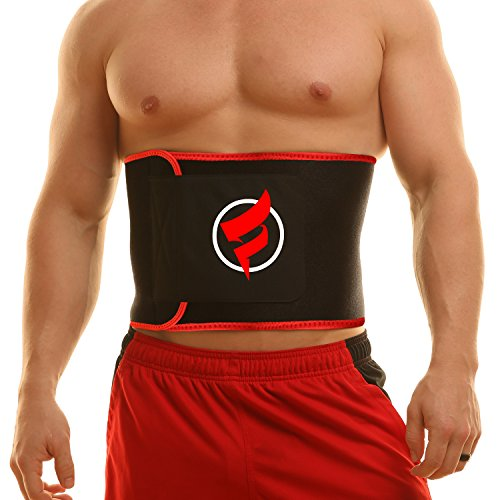 "Fitru Waist Trimmer Weight Loss Ab Belt For Women & Men - Waist Trainer Stomach Wrap (red, 9"" X 34"")"