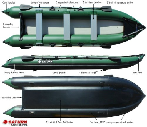 Saturn 15 ft Extra Heavy-Duty Expedition Boat Motor Kaboat SK470XL - Green