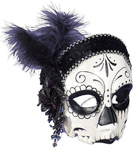 Day of the Dead Flapper Half Mask (Day Of The Dead Mask For Sale)