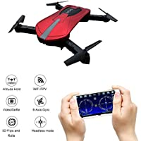 Foldable Drone,Kingtoys WIFI Portable Quadcopter Drone with FPV HD Camera, 2.4 GHz 3D Flip Quadcopter, APP Control Selfie Pocket Drone.