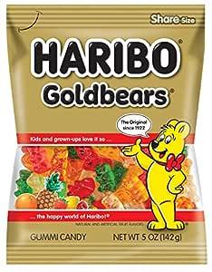 Haribo Gummi Candy, Goldbears, 5 oz Bags (Pack of 12)
