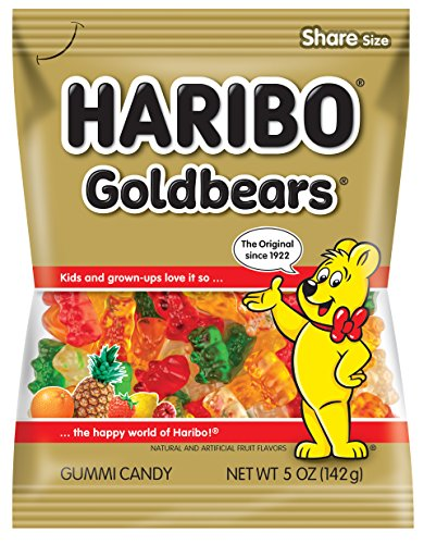 Gummy Haribo Bulk Bears - Haribo Gummi Candy, Original Gold-Bears, 5-Ounce Bags (Pack of 12)