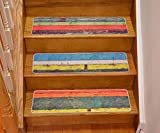 Stair Treads Nature Designs Slip Resistant Backing Indoor Carpet Stair Treads Realistic Wood Print 8 ½ inch x 29 ½ inch (Set of 15, Multi Color)