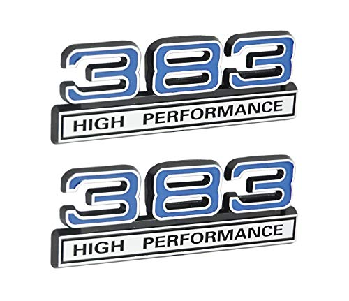 383 6.2L High Performance Engine Emblems in Chrome & Blue - 4