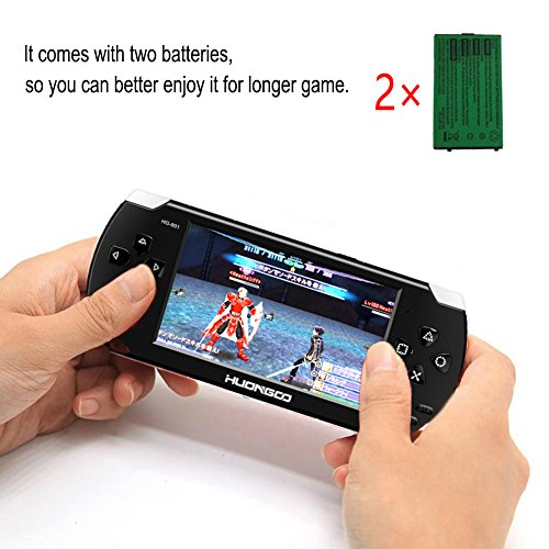 HuonGoo Handheld Game Console, Handheld Video Game 4.3 inch Screen 368 Classic Games,Retro Game Console Can Play on TV, Good Gifts for Kids to Adult. (Black) by HuonGoo (Image #4)