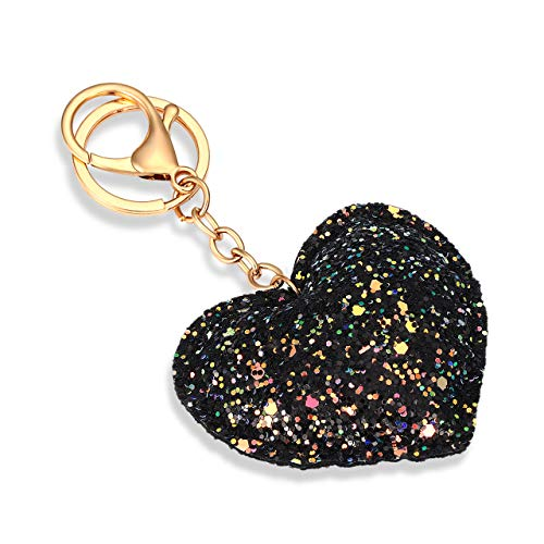 TIKCOOL Glitter Keyrings Keychains for Women Girls Sequin Pendant Charms Key Chain for Car Bag Purse Wallets 3-D Love Heart Hanging Key Ring Decoration Party Favors Supplies (Glitter Violet) ()