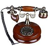 SJIADHJ Rotary Dial Phone Classic Wood Retro, Vintage Línea terrestre Antigua con Reloj de Metal clásico Manos Libres Redraw, Usado en la Sala de Estar Dormitorio Oficina