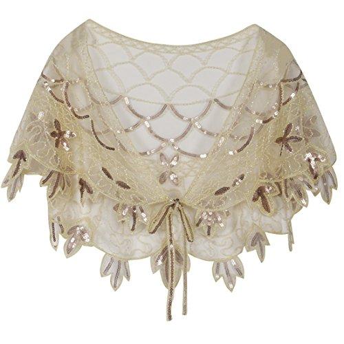 Embellished Bolero - PrettyGuide Women's 1920s Shawl Beaded Vintage Bolero Flapper Evening Warps Champagne