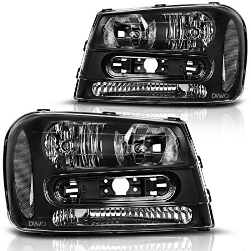 For 2002 2003 2004 2005 2006 2007 2008 2009 Chevy Trailblazer Headlight Assembly W/Full Width Grille Headlamp Replacement Amber ()