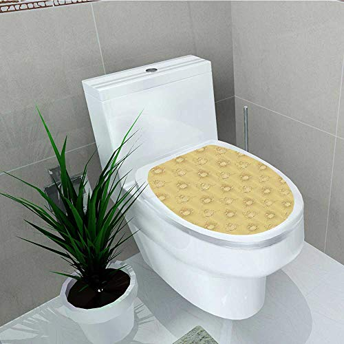 Printsonne Toilet Seat Sticker Pumpkins The Earth Background Halloween Harvest Seasal Squash Plant Waterproof Decorative Toilet Cover Stickers W13 x -