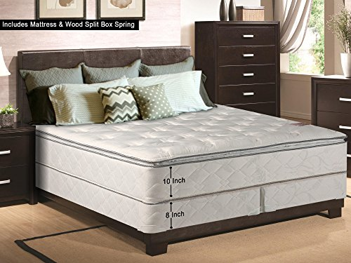 Continental Matress, 10-Inch medium plush Pillowtop Innerspring Mattress And Split Wood Traditional Box Spring/Foundation Set, Good For The Back, No Assembly Required, King Size 79