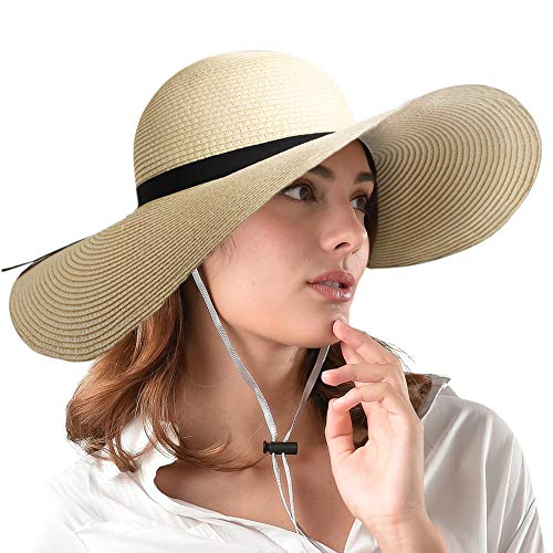 FURTALK Women Wide Brim Sun Hat Summer Beach Cap UPF50 UV Packable Straw Hat for Travel (Large Size (22.8''-23''), WideBrim Beige)