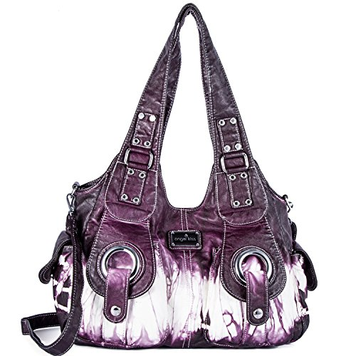 Handbag Hobo Women Bag Roomy Multiple Pockets Street ladies' Shoulder Bag Fashion PU Tote Satchel Bag for Women (XS160191Z purple) ()