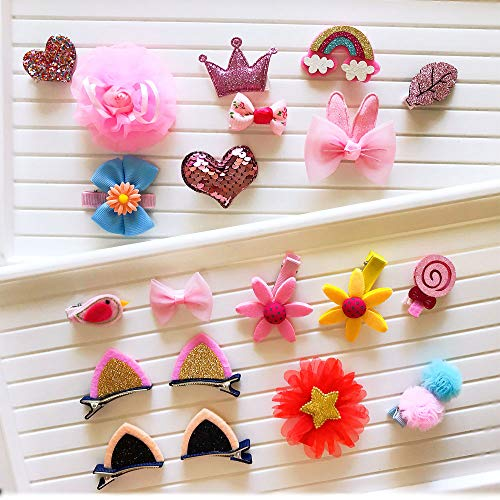 Aohandle 20pcs Sweet Lovely Hair Bows Clips Cat Ear Clips Hair Accessories Crown Barrettes for Little Girls Toddler Gift for Birthday, Christmas,Back to school