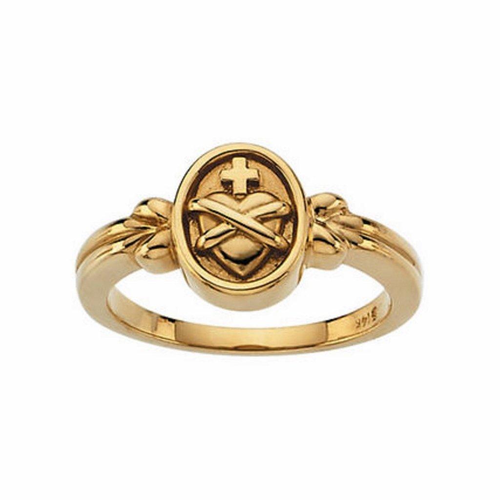 Roxx Fine Jewelry Sacred Heart of Jesus Ring 14K Yellow Gold 10mm R6506 by Roxx Fine Jewelry (Image #1)