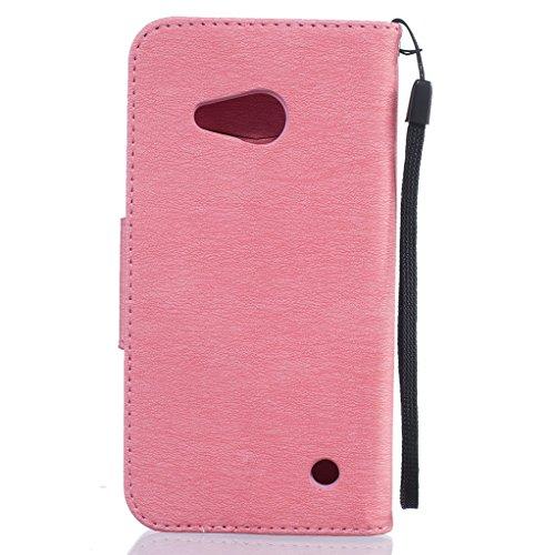 Trumpshop Smartphone Carcasa Funda Protección para Microsoft Lumia 550 (Serie Pluma) + Gris + PU Cuero Caja Protector Billetera con Cierre magnético Ranura para Tarjeta Crédito Choque Absorción Rosado