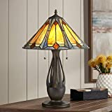Gerald Traditional Mission Accent Table Lamp Deep Metallic Antique Tiffany Style Art Glass Shade for Living Room Bedroom Bedside Nightstand Office Family - Robert Louis Tiffany