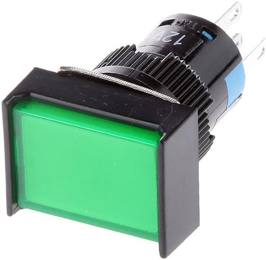 16mm 12v Selbsthaltender Quadratischen Schalter Led Beleuchtet Drucktaster Druckschalter Druckknopf Ein Ausschalter Für Auto Kfz Grün Xl Auto