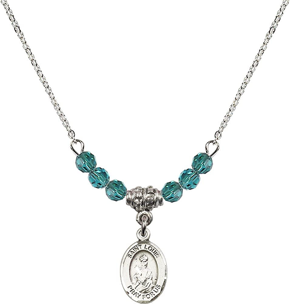 18-Inch Rhodium Plated Necklace with 4mm Zircon Birthstone Beads and Sterling Silver Saint Louis Charm.