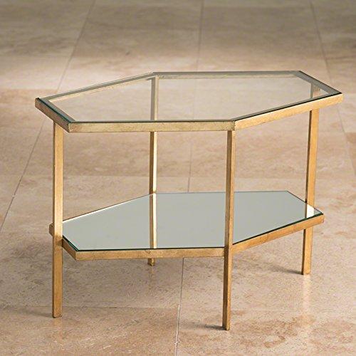 Living Furniture Room House Regency (Global Views Hollywood Regency Gold Glass Hexagon Table)