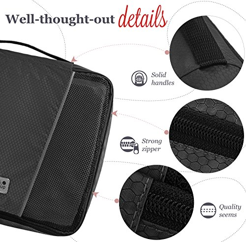 MyTravelUp, 7in1 - TRAVEL PACKING CUBES for everyone who loves travelling, HIGH QUALITY durable material, 2 BAGS for LAUNDRY/SHOES. This travel set will be a SMART ORGANIZER for clothes (Black) by MyTravelUp (Image #3)