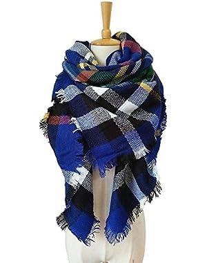 Women's Oversized Tartan Plaid Check Blanket Scarf Large Square Winter Warm Shawl Wrap