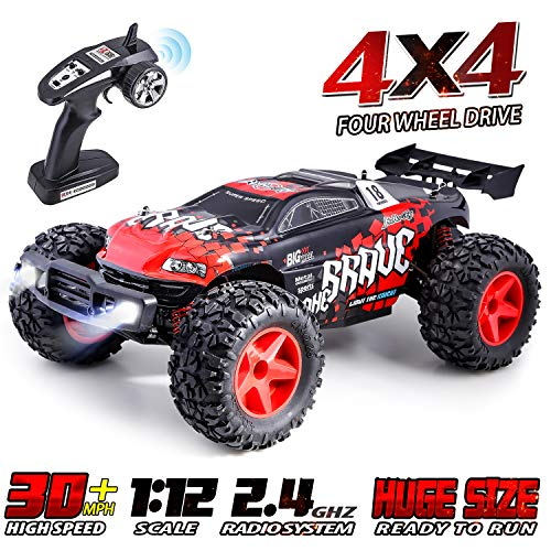 HisHerToy High Speed Offroad RC Cars for Boys 30MPH 4WD Monster Truck Remote Control Car for Adults Off Road RC Vehicle Buggy 2.4Ghz 1:12 Remote Control Car for Boys Hobby Race Car RC Trucks for Kids