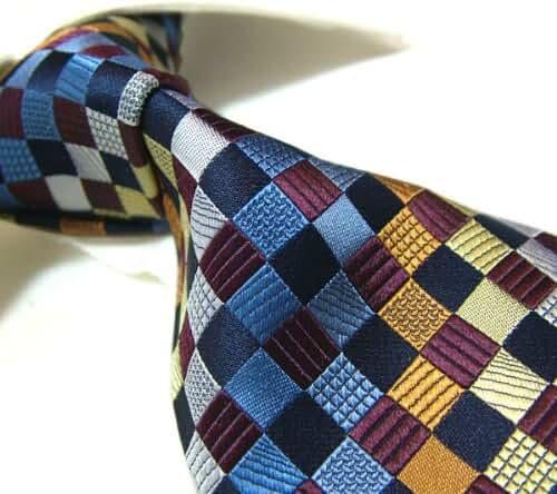 Towergem XL Seven Fold Handmade 100% Silk Tie Mixed Color Check Necktie Extra Long