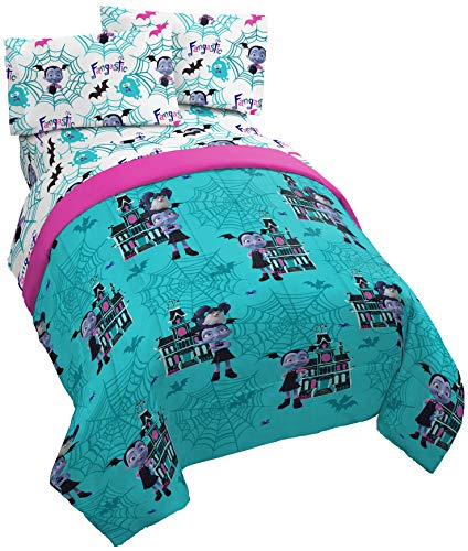 Jay Franco Disney Vampirina 4 Piece Twin Bed Set - Includes Reversible Comforter & Sheet Set - Super Soft Fade Resistant Polyester - (Official Disney Product)